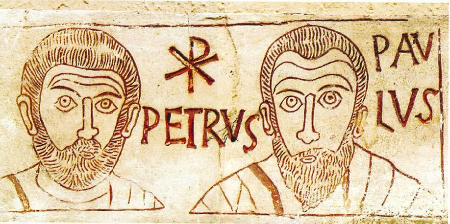 A 4th century wall carving of SsPeter & Paul